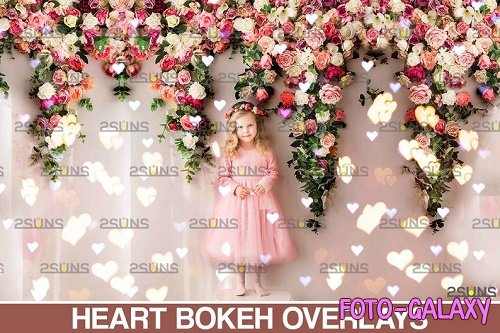 Valentine Bokeh Blowing heart Photoshop overlay v14