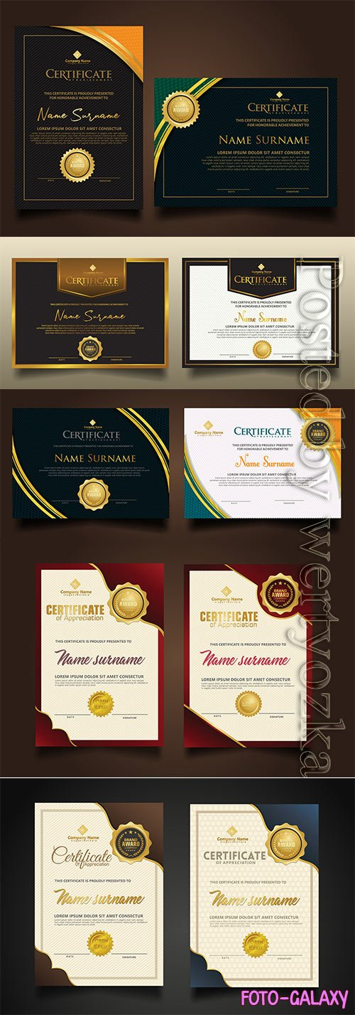 Set vertical and horizontal certificate luxury template