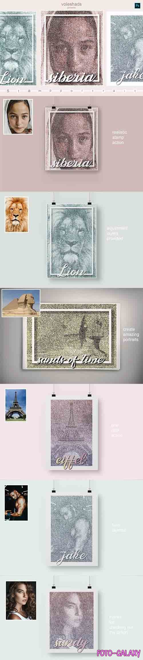 CreativeMarket - Stamp portrait Photoshop Action 5933908