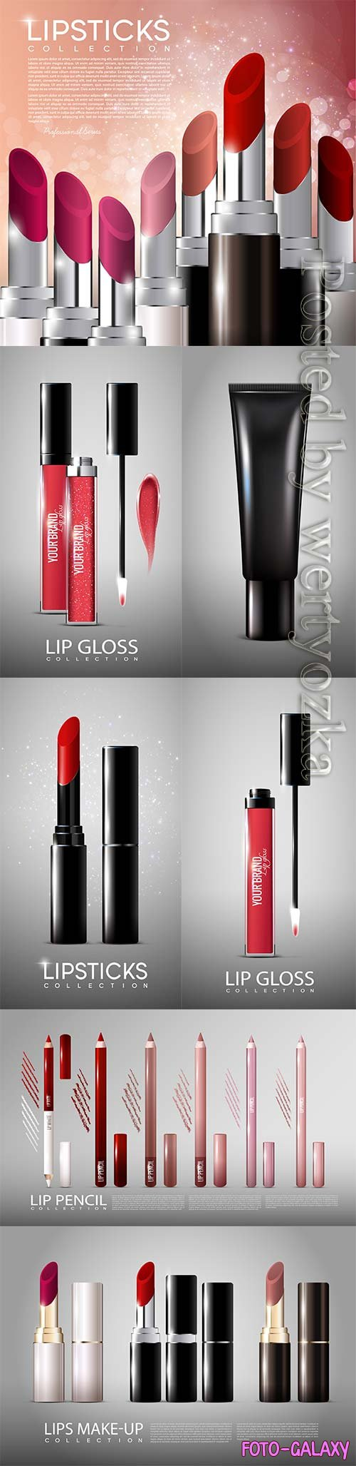 Cosmetic products advertising vector template