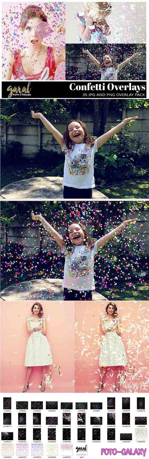 35 Confetti Photoshop Overlays, JPG and PNG files - 484367