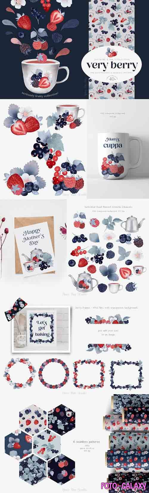 Gouache Berries Illustrations and Seamless Patterns PNG JPEG - 1360042
